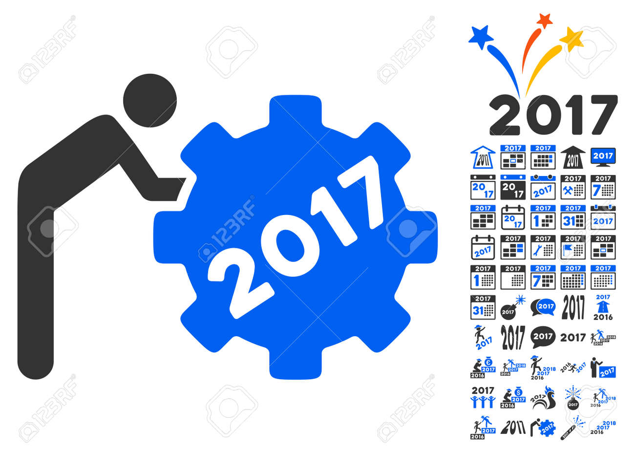 2017 working man icon with bonus 2017 new year symbols vector 2017 working man icon with bonus 2017 new year symbols vector illustration style is flat biocorpaavc Images