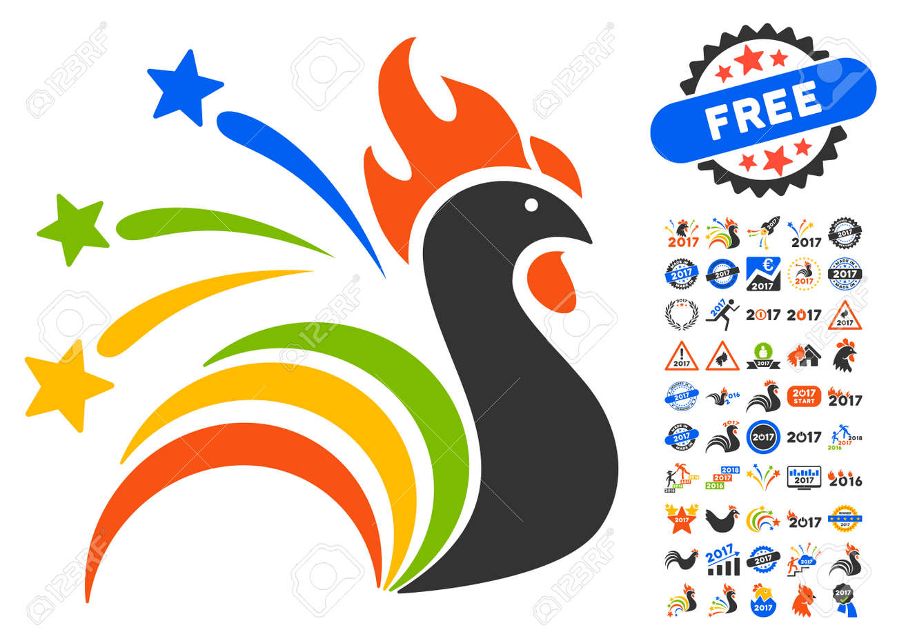 fireworks rooster pictograph with bonus 2017 new year clip art vector illustration style is flat