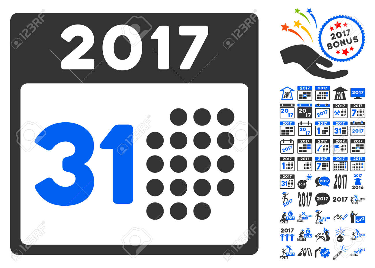 last 2017 month day icon with bonus 2017 new year clip art vector illustration style