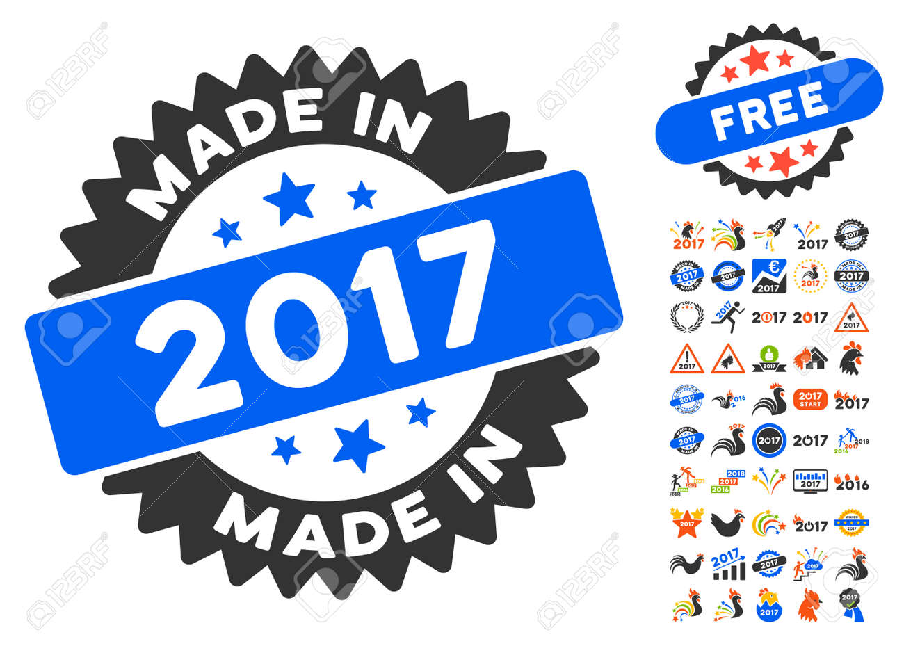 made in 2017 stamp pictograph with bonus 2017 new year clip art vector illustration style