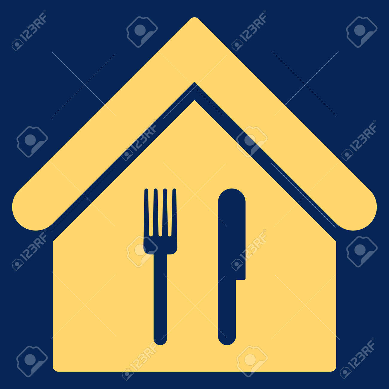 Restaurant Icon Glyph Style Is Flat Iconic Symbol Yellow Color Stock Photo Picture And Royalty Free Image Image 64731942