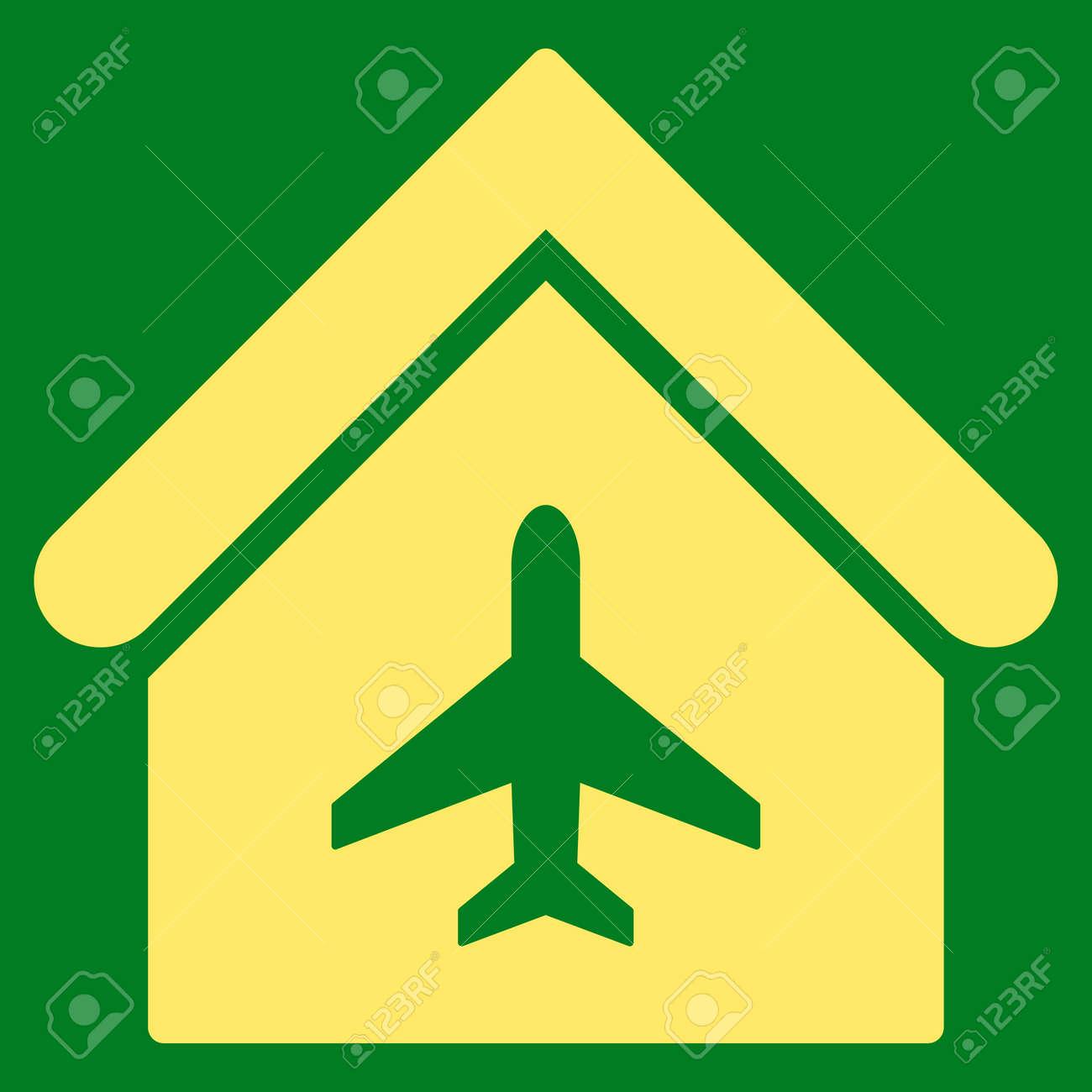 Aircraft Hangar Icon. Glyph Style Is Flat Iconic Symbol, Yellow ...