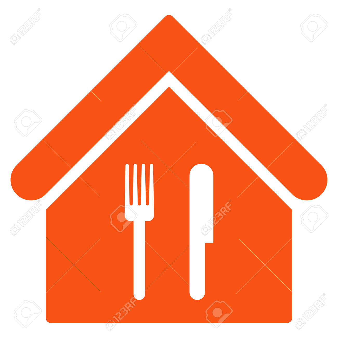 Restaurant Icon Glyph Style Is Flat Iconic Symbol Orange Color Stock Photo Picture And Royalty Free Image Image 64666349