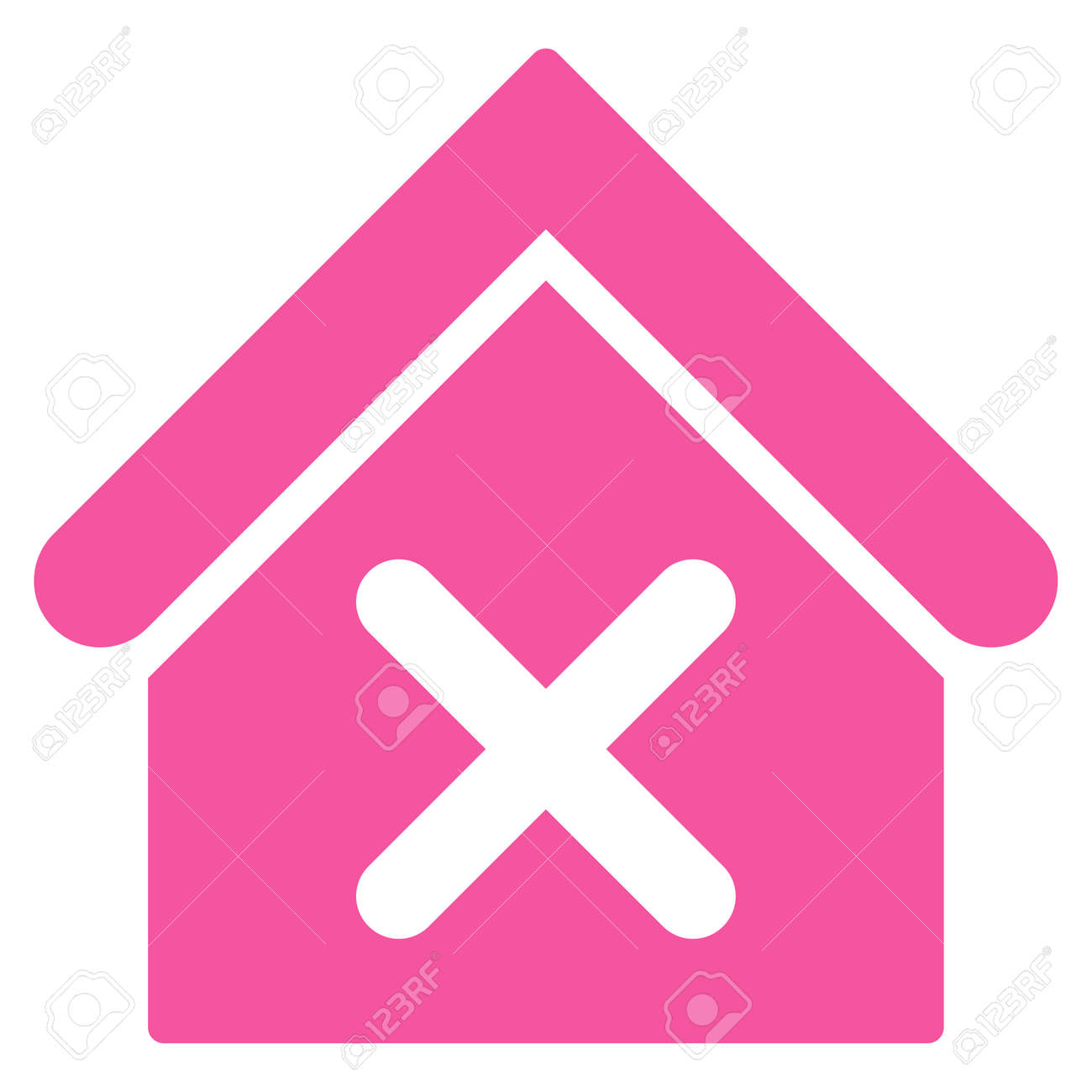 Wrong House Icon. Glyph Style Is Flat Iconic Symbol, Pink Color ...