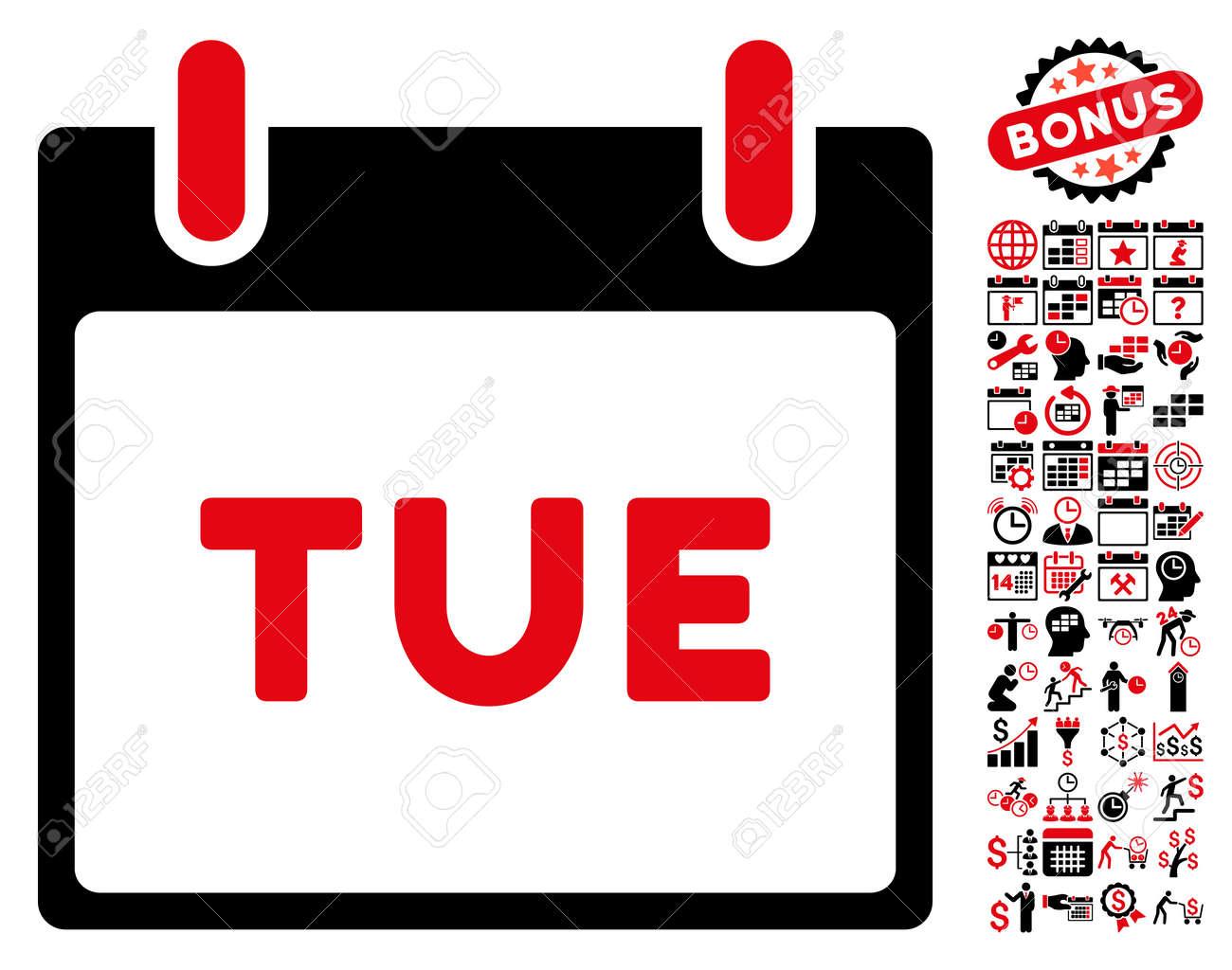 Calendario Icona.Martedi Calendario Icona Pagina Con Calendario Bonus E Icone Grafiche Di Gestione Del Tempo Lo Stile Illustrato Glyph E Simboli Piatti Piatti