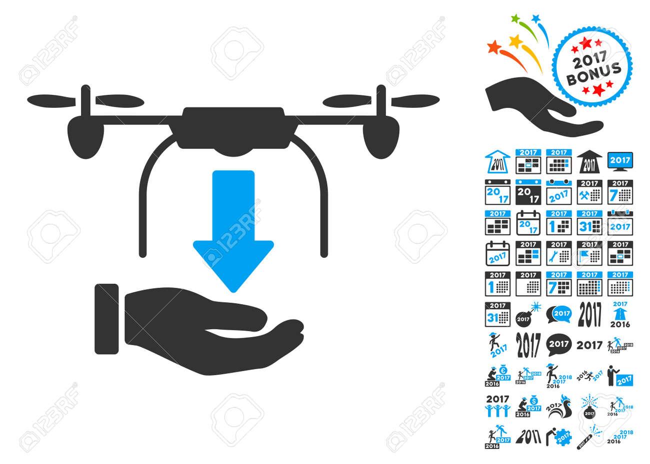 Line Art Illustration Style : Unload drone hand icon with bonus 2017 new year clip art. glyph