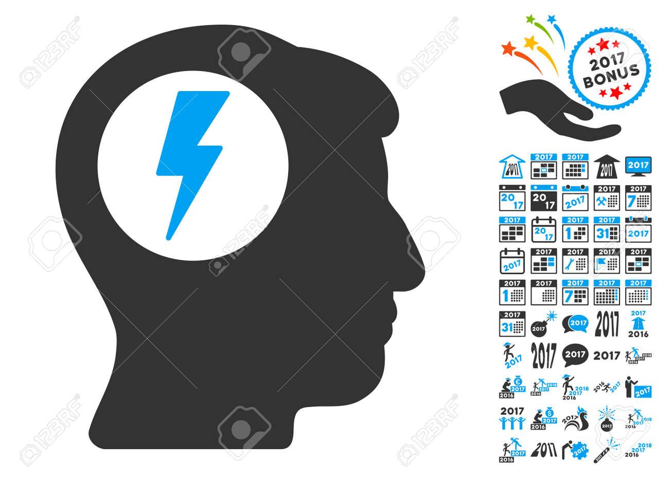 Brain electric shock icon with bonus 2017 new year pictograms glyph brain electric shock icon with bonus 2017 new year pictograms glyph illustration style is flat buycottarizona Images