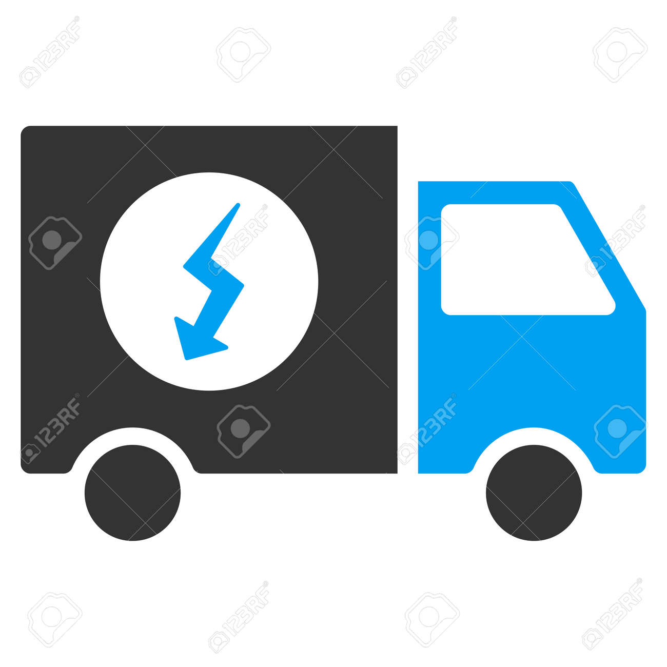 Power Supply Van Vector Pictograph Illustration Style Is A Flat