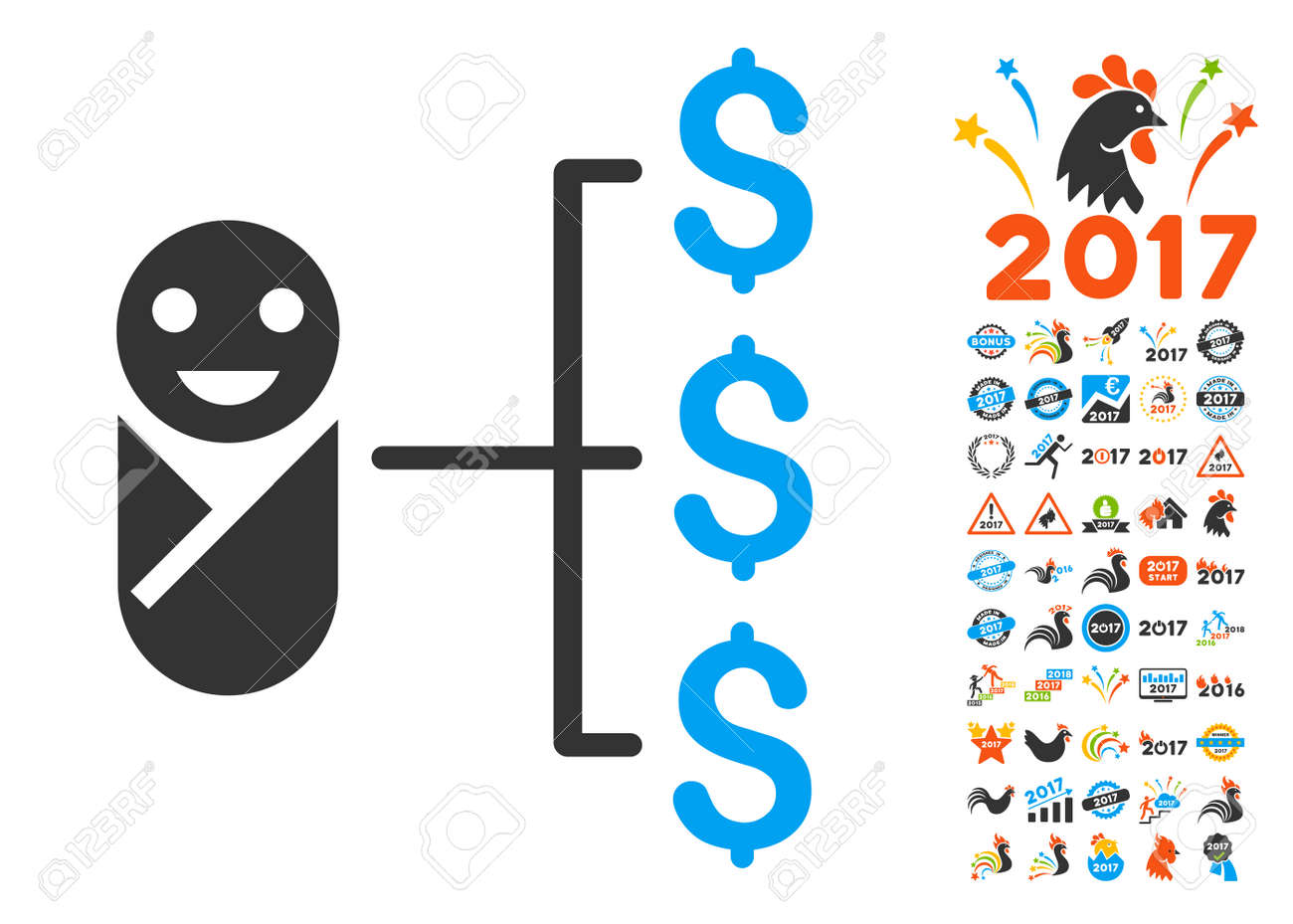 baby expenses pictograph with bonus 2017 new year icon set vector illustration style is flat