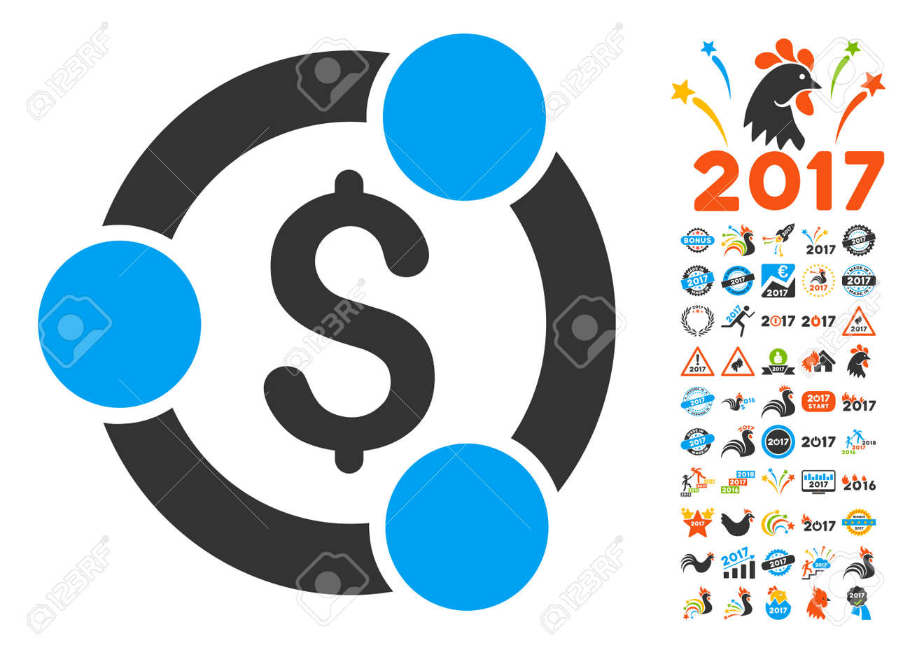 financial collaboration icon with bonus 2017 new year clip art vector illustration style is flat
