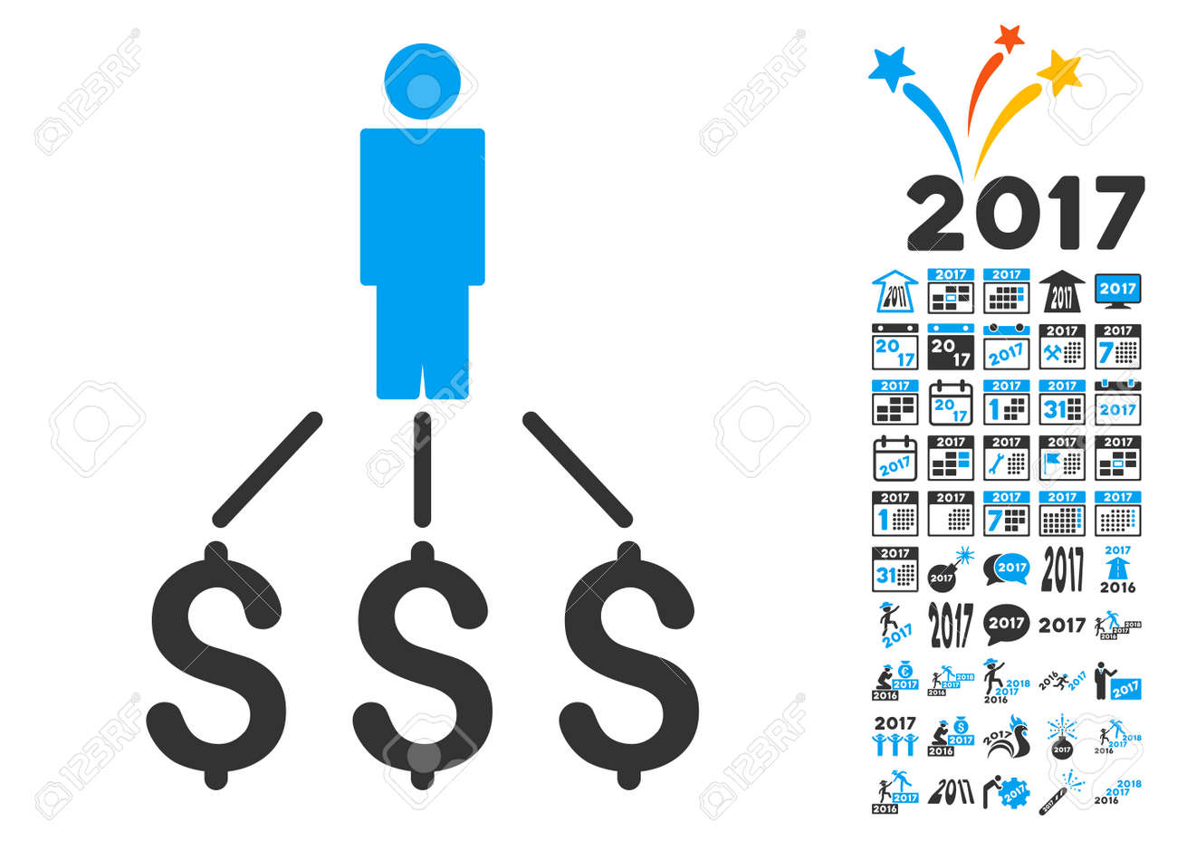 Line Art Illustration Style : Person expenses pictograph with bonus 2017 new year