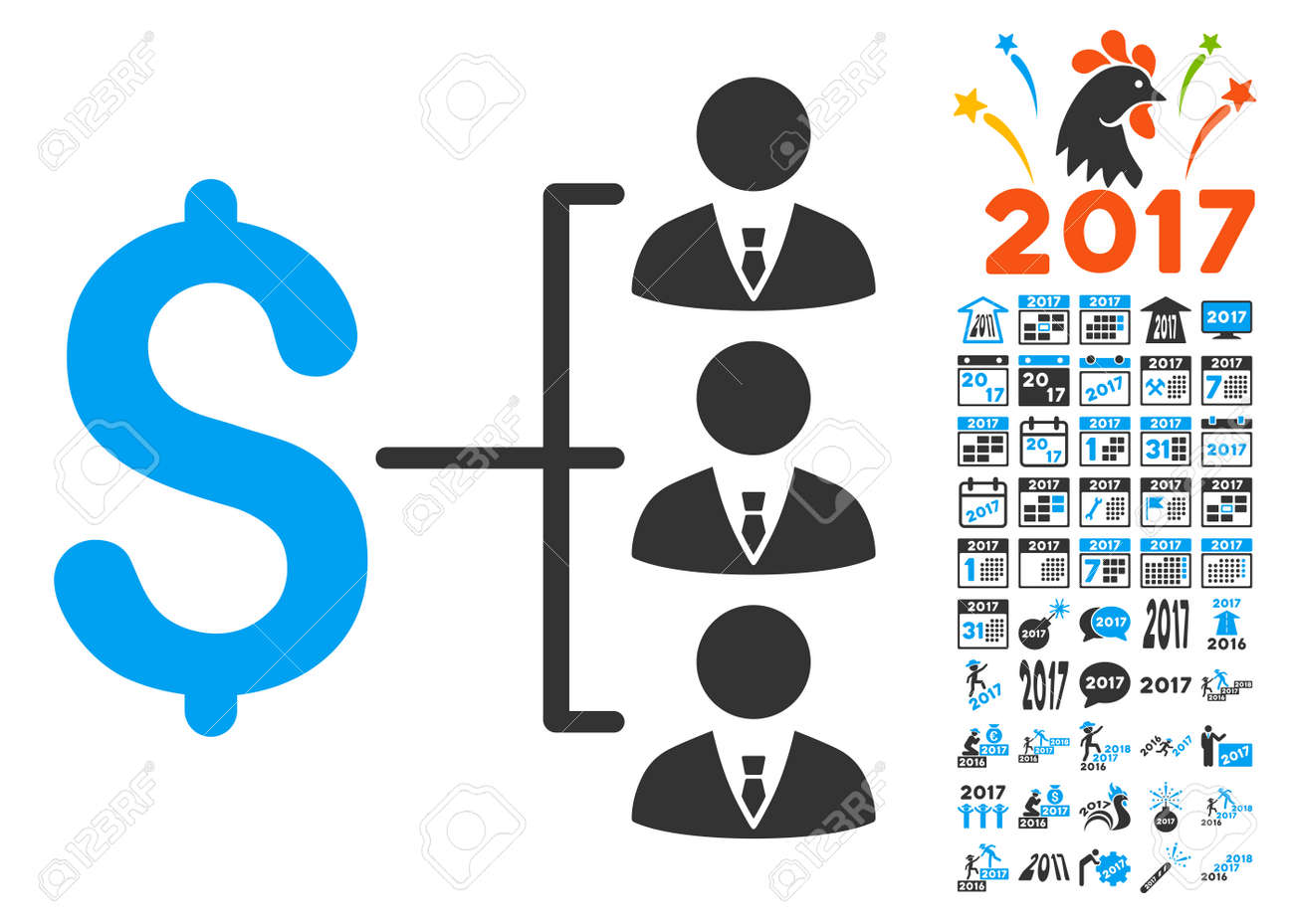 staff payment pictograph with bonus 2017 new year clip art vector illustration style is flat