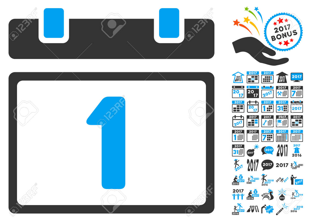 first day pictograph with bonus 2017 new year symbols vector illustration style is flat iconic