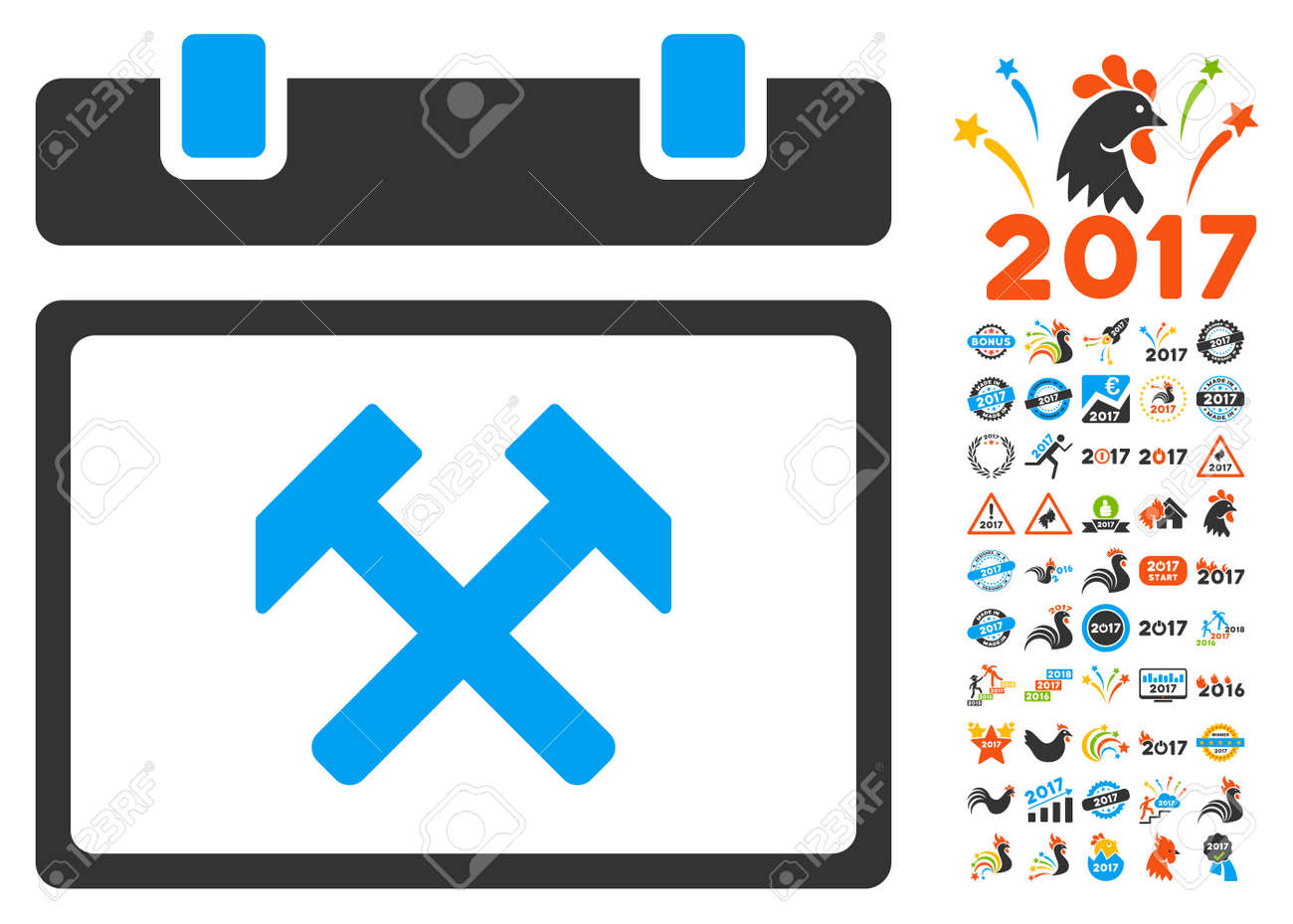 working calendar day icon with bonus 2017 new year graphic icons royalty free cliparts vectors and stock illustration image 66484100 123rf com