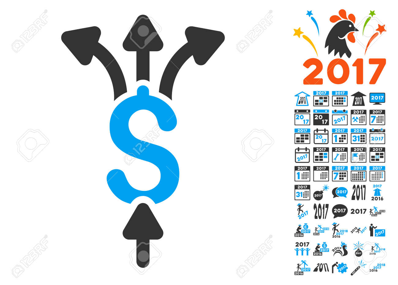 divide payments pictograph with bonus 2017 new year clip art glyph illustration style is flat