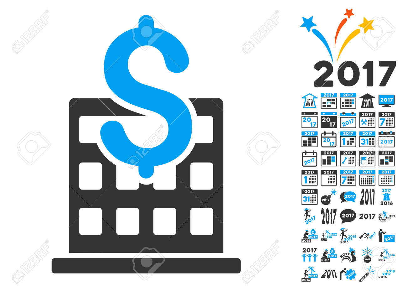 Financial company building icon with bonus 2017 new year symbols financial company building icon with bonus 2017 new year symbols glyph illustration style is flat biocorpaavc