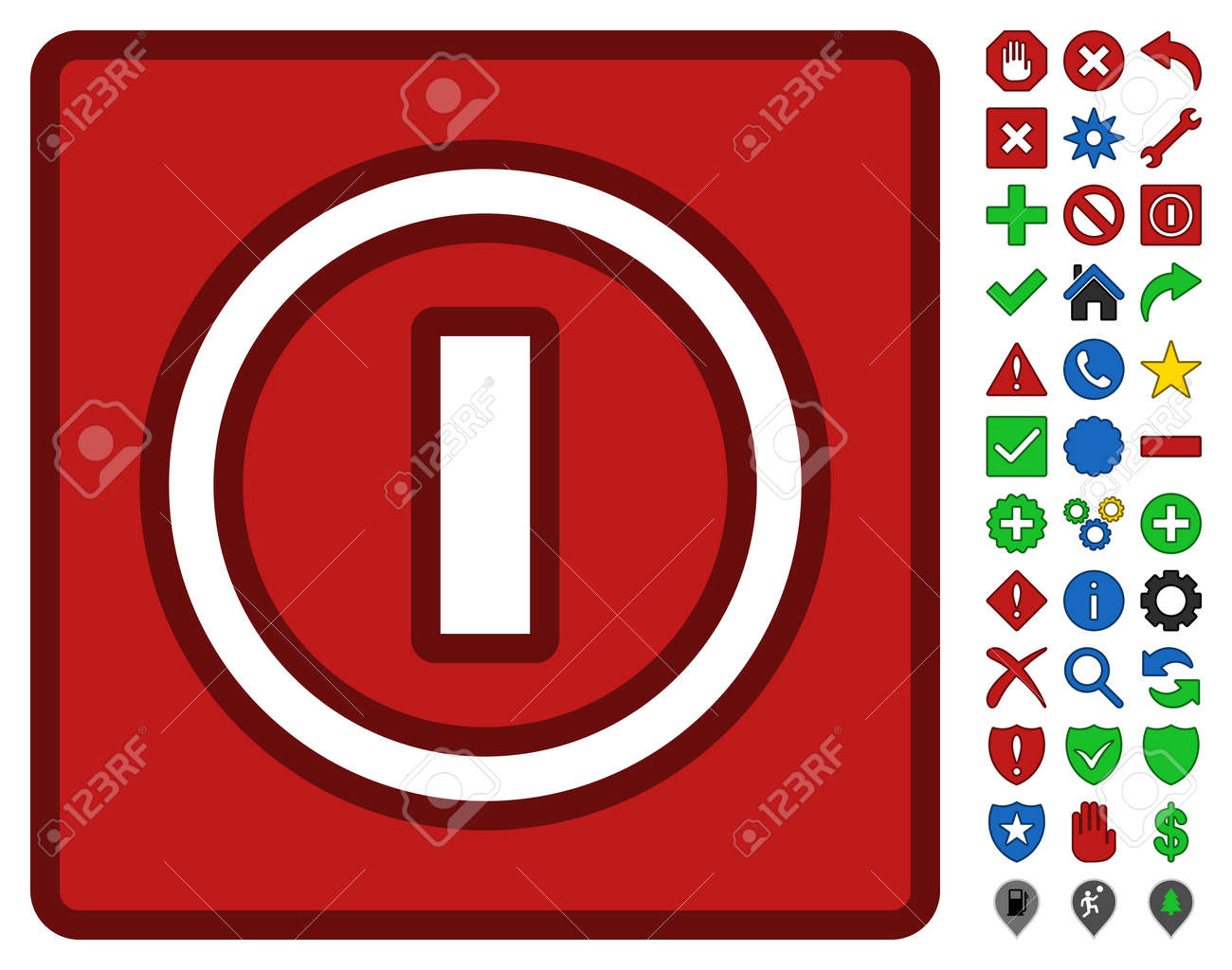 Turn Off Switch Toolbar Pictogram With Bright Toolbar Icon Set ...