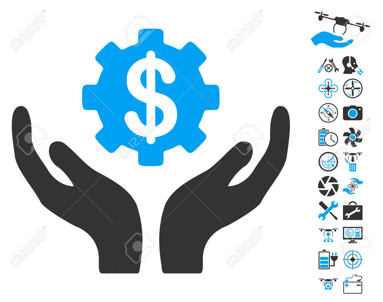 Maintenance Price Icon With Bonus Airdrone Tools Images Vector Illustration Style Is Flat Iconic Blue