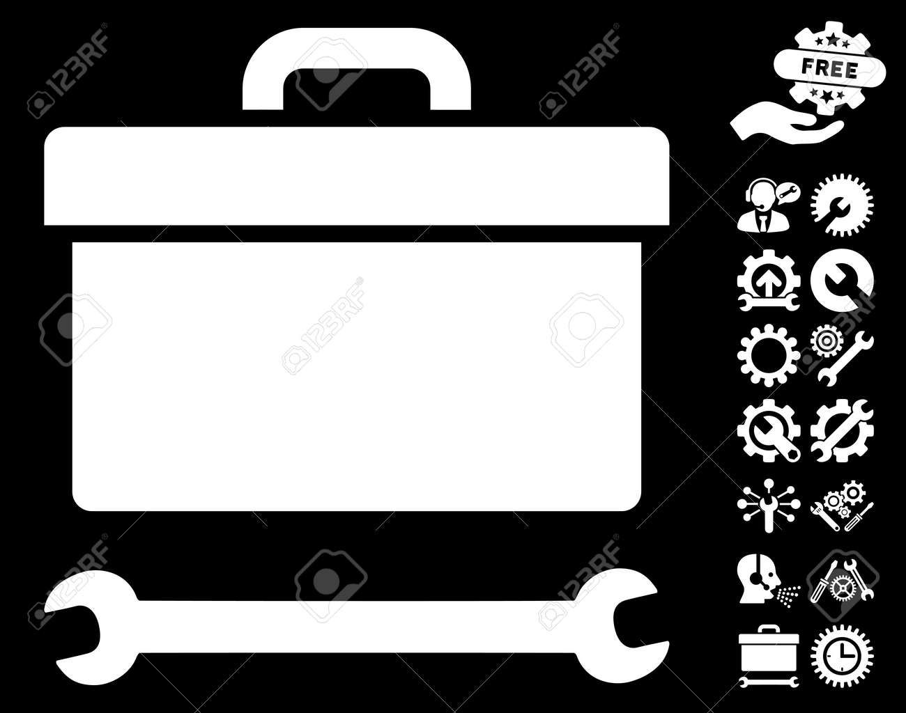 tool box clipart. toolbox icon with bonus service clip art glyph illustration style is flat iconic white symbols tool box clipart