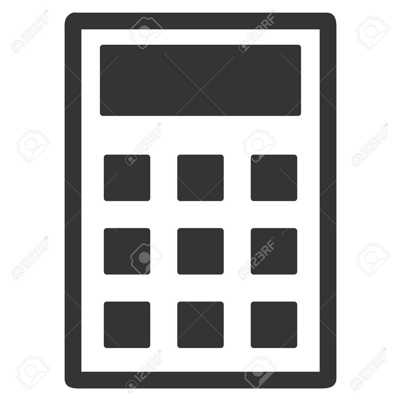 calculator vector icon flat gray symbol pictogram is isolated