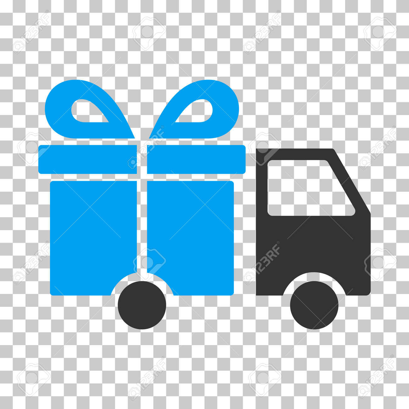 Gift Delivery Van EPS vector icon. Illustration style is flat iconic bicolor blue and gray symbol on chess transparent background. - 66719926