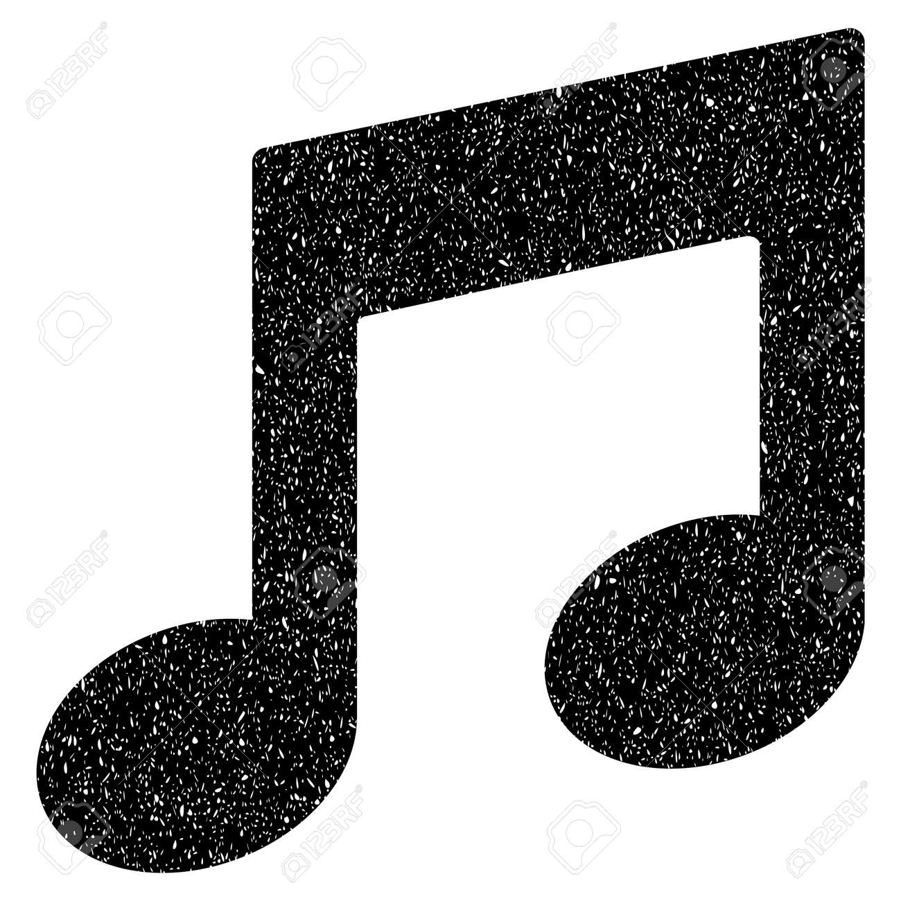 Notas De Música Granulado Texturizado ícone Para Selos De Marca D água De Sobreposição Símbolo Plano Com Textura Suja Carimbo De Borracha Selo Preto De Vetor Pontilhada Com Design Grunge Em Um Fundo