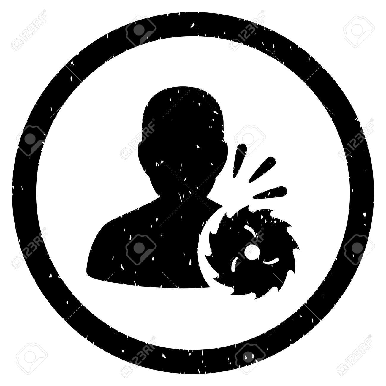 body execution grainy textured icon inside circle for overlay