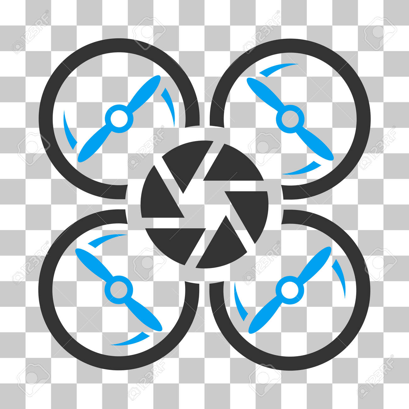 Shutter Drone Vector Pictograph Illustration Style Is Flat Iconic Bicolor Blue And Gray Symbol On
