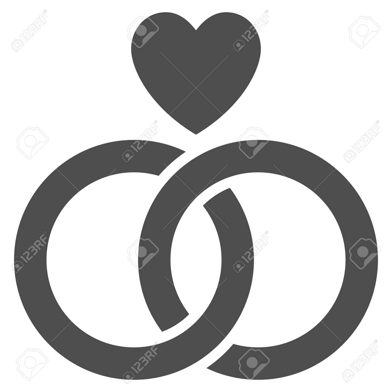 Hochzeit Ringe Mit Herz Vektor Symbol Flaches Graues Symbol