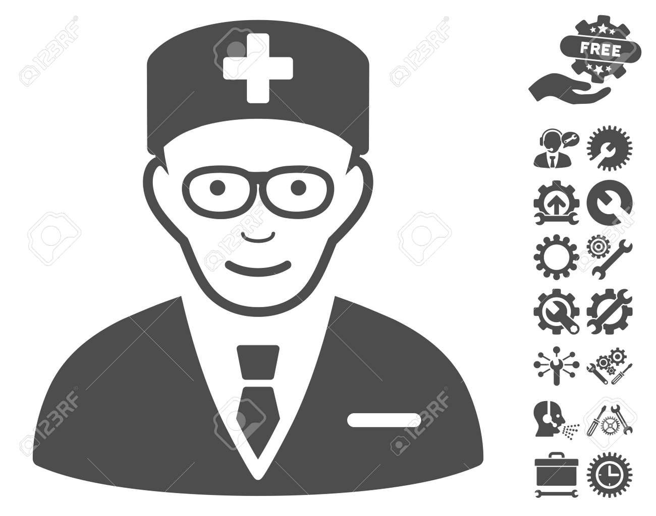 Head Physician Icon With Bonus Service Images. Vector Illustration ...
