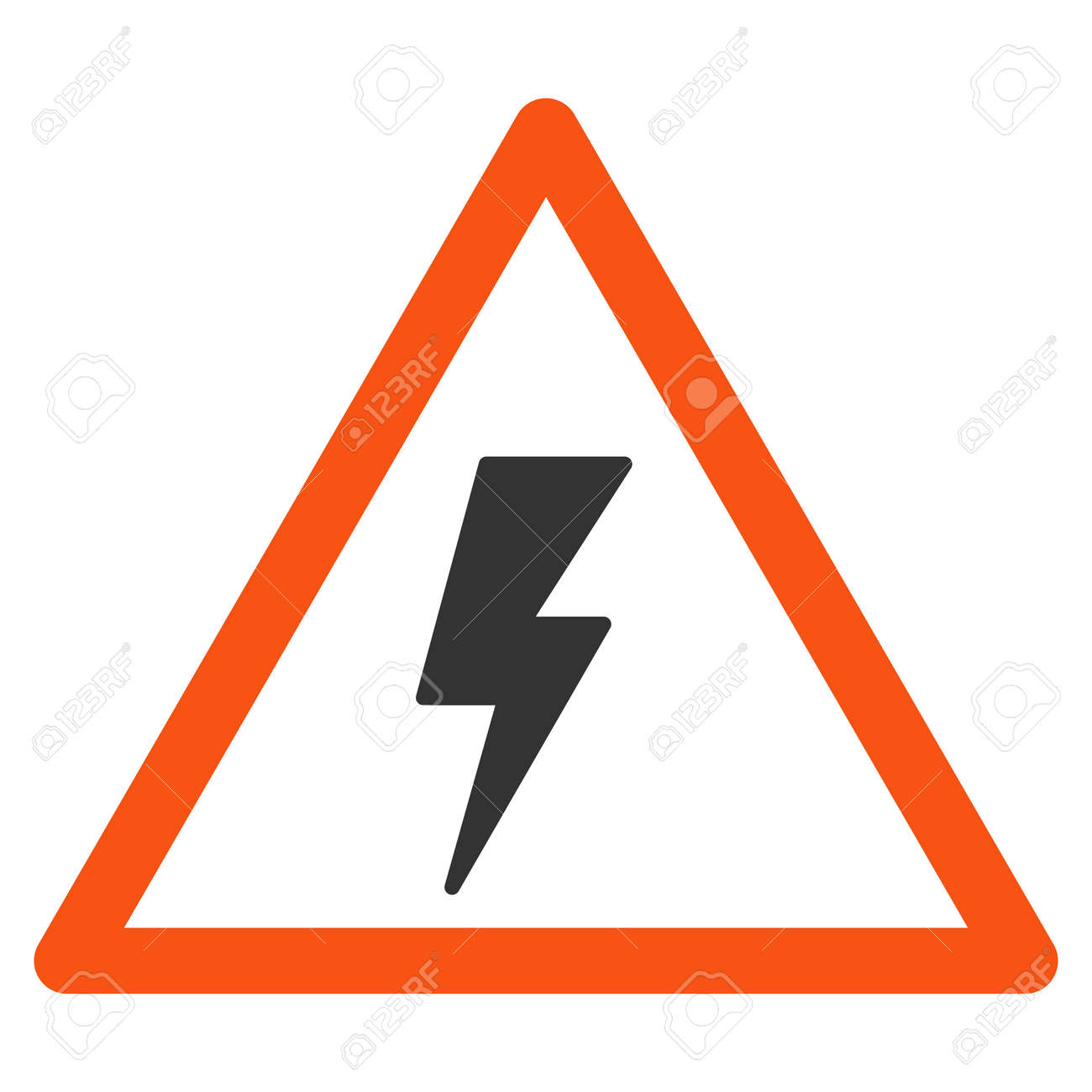 Electricity Shock Warning Vector Pictograph. Style Is Flat Graphic ...