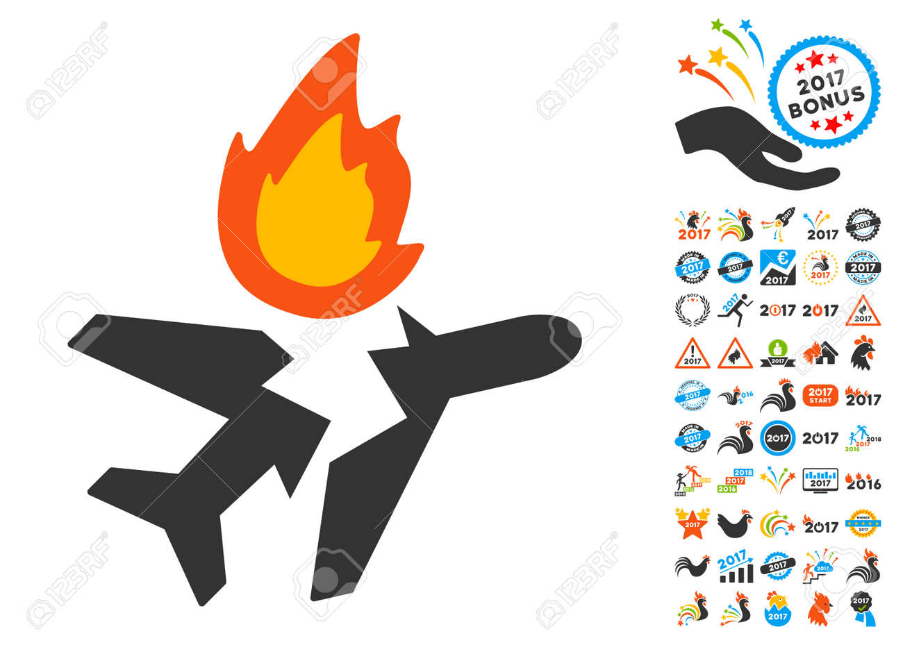 airplane crash pictograph with bonus 2017 new year clip art rh 123rf com
