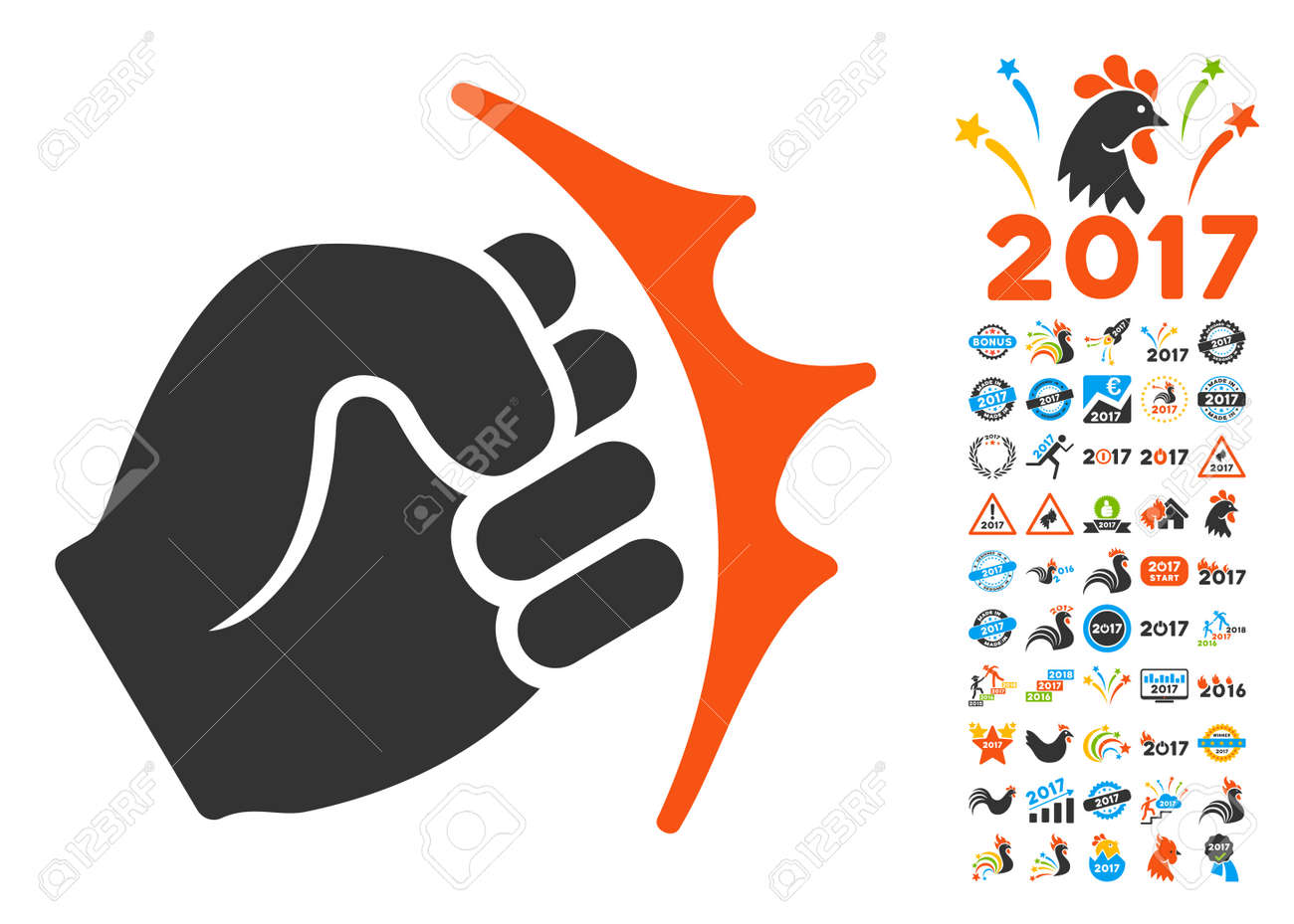 fist strike pictograph with bonus 2017 new year clip art vector illustration style is flat
