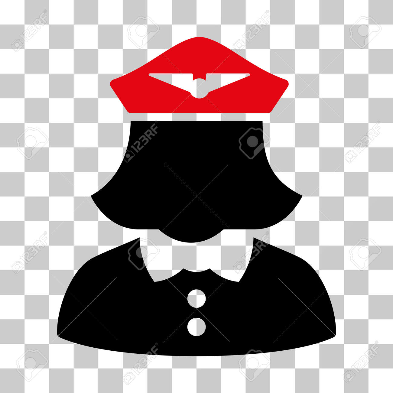 814a418979f Airline Stewardess vector pictogram. Illustration style is flat iconic  bicolor intensive red and black symbol