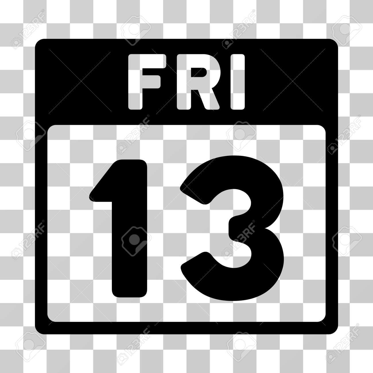 Simbolo De Calendario.13 Icona Del Calendario Di Venerdi Lo Stile Dell Illustrazione Di Vettore E Simbolo Iconico Piano Colore Nero Fondo Trasparente Progettato Per
