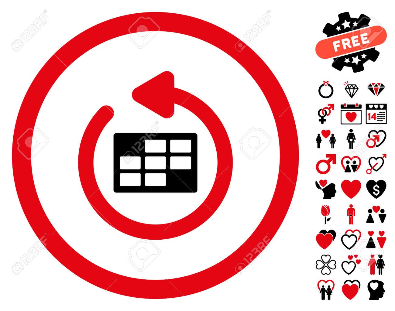 Actualizar Calendario.Actualizar El Pictograma Del Calendario Con Bonitos Simbolos Extra El Estilo Del Ejemplo Del Vector Es Simbolos Rojos Y Negros Intensos Iconicos