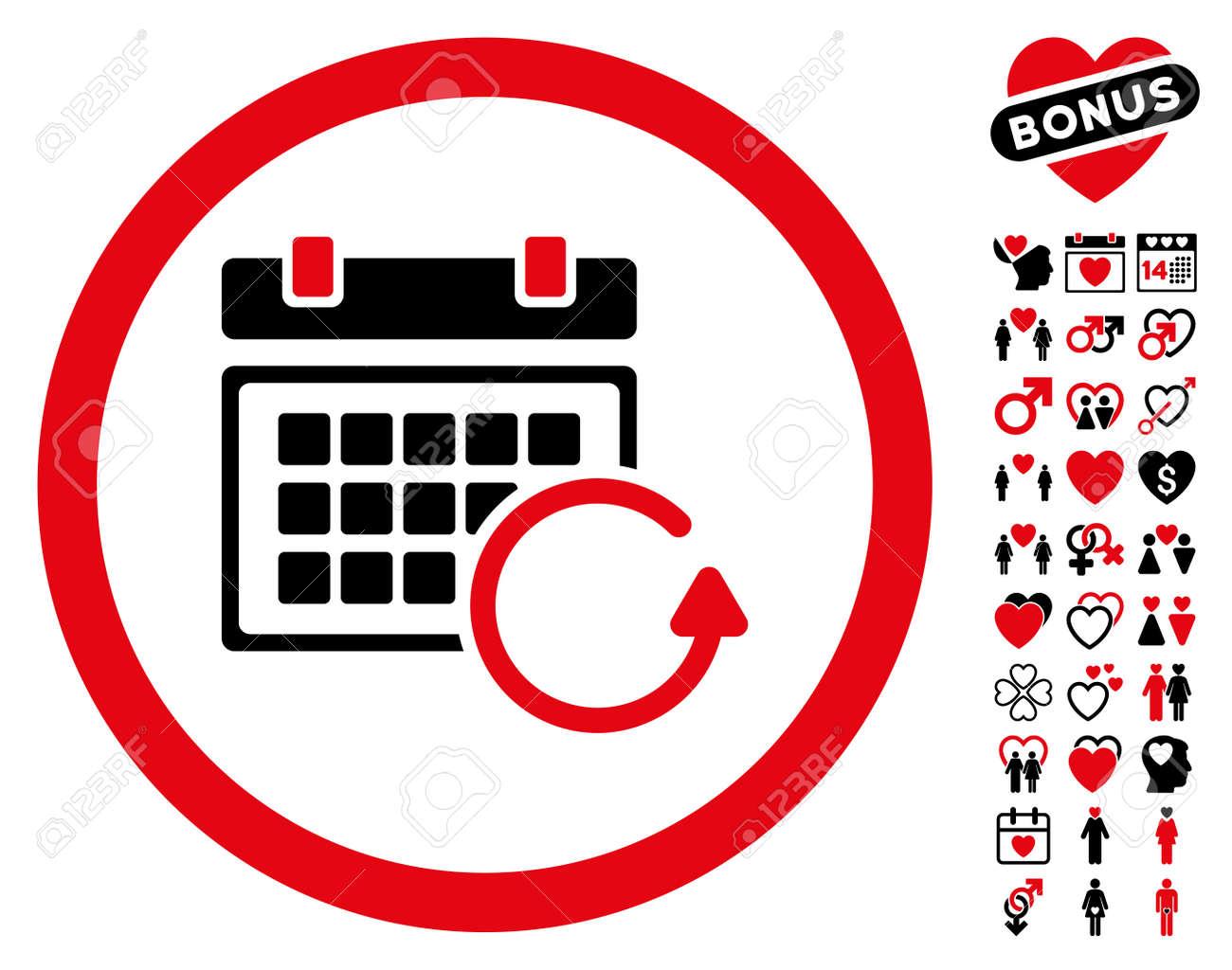 Actualizar Calendario.Actualizar El Pictograma Del Calendario Con Imagenes Decorativas De Bonificacion El Estilo Del Ejemplo Del Vector Es Simbolos Rojos Y Negros