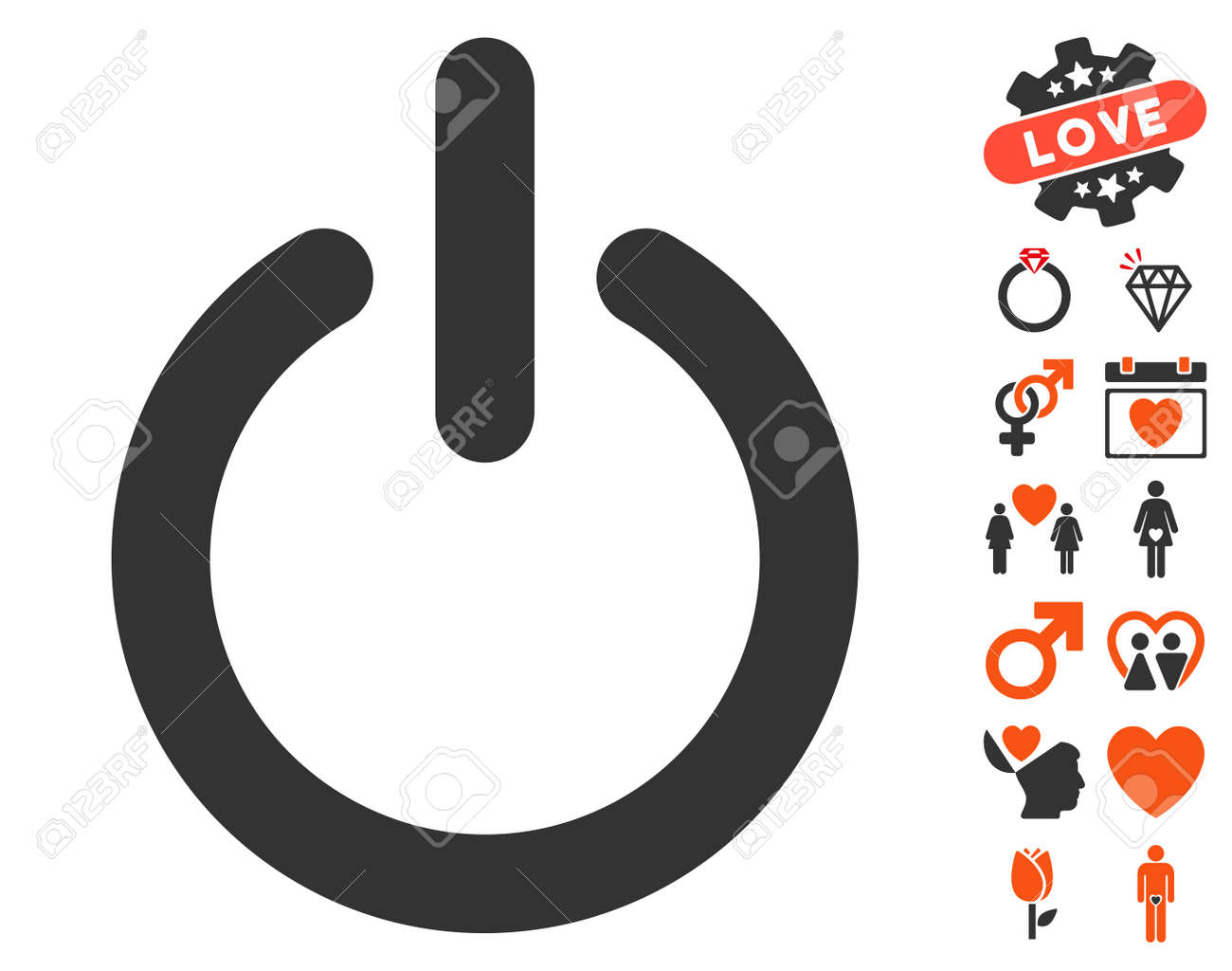 Turn Off Icon With Bonus Marriage Pictograms. Vector Illustration ...