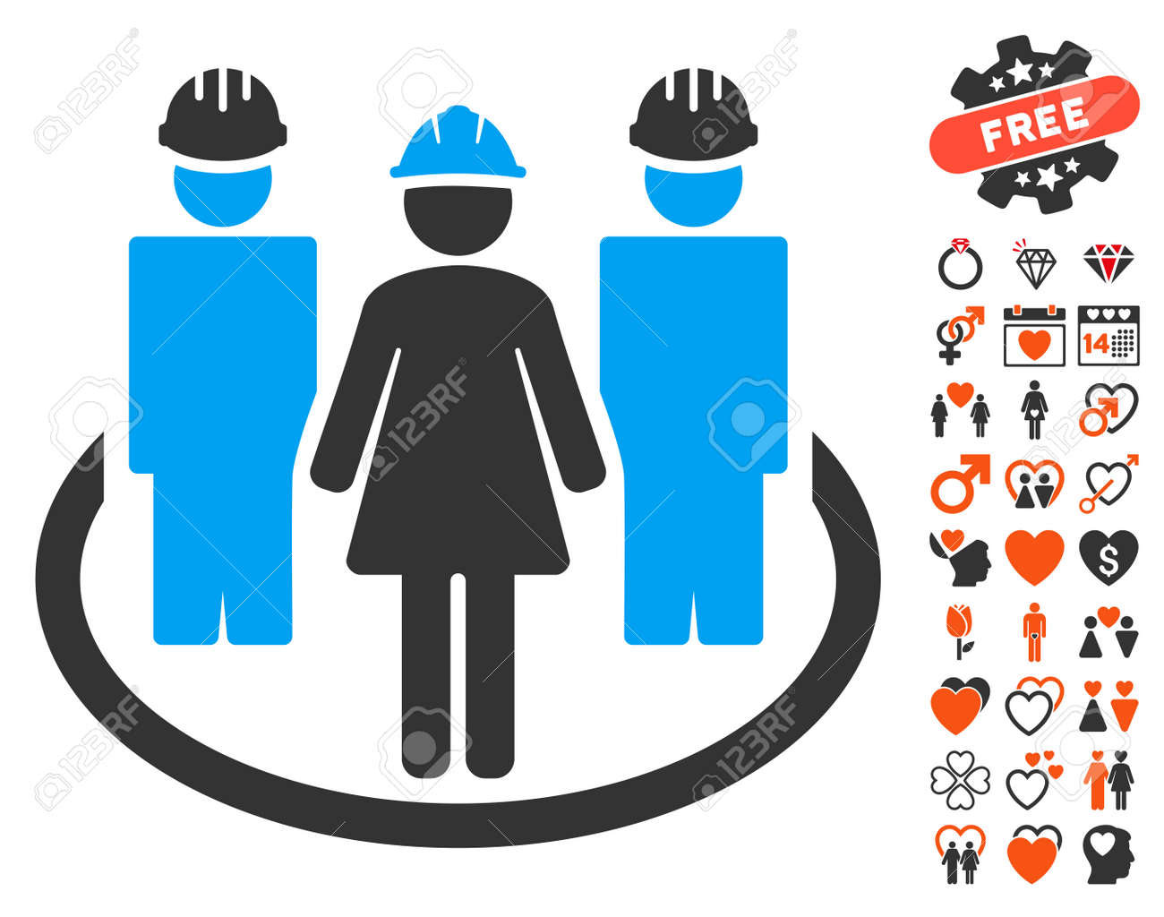 Worker social relations icon with bonus romantic symbols vector worker social relations icon with bonus romantic symbols vector illustration style is flat iconic symbols biocorpaavc Gallery