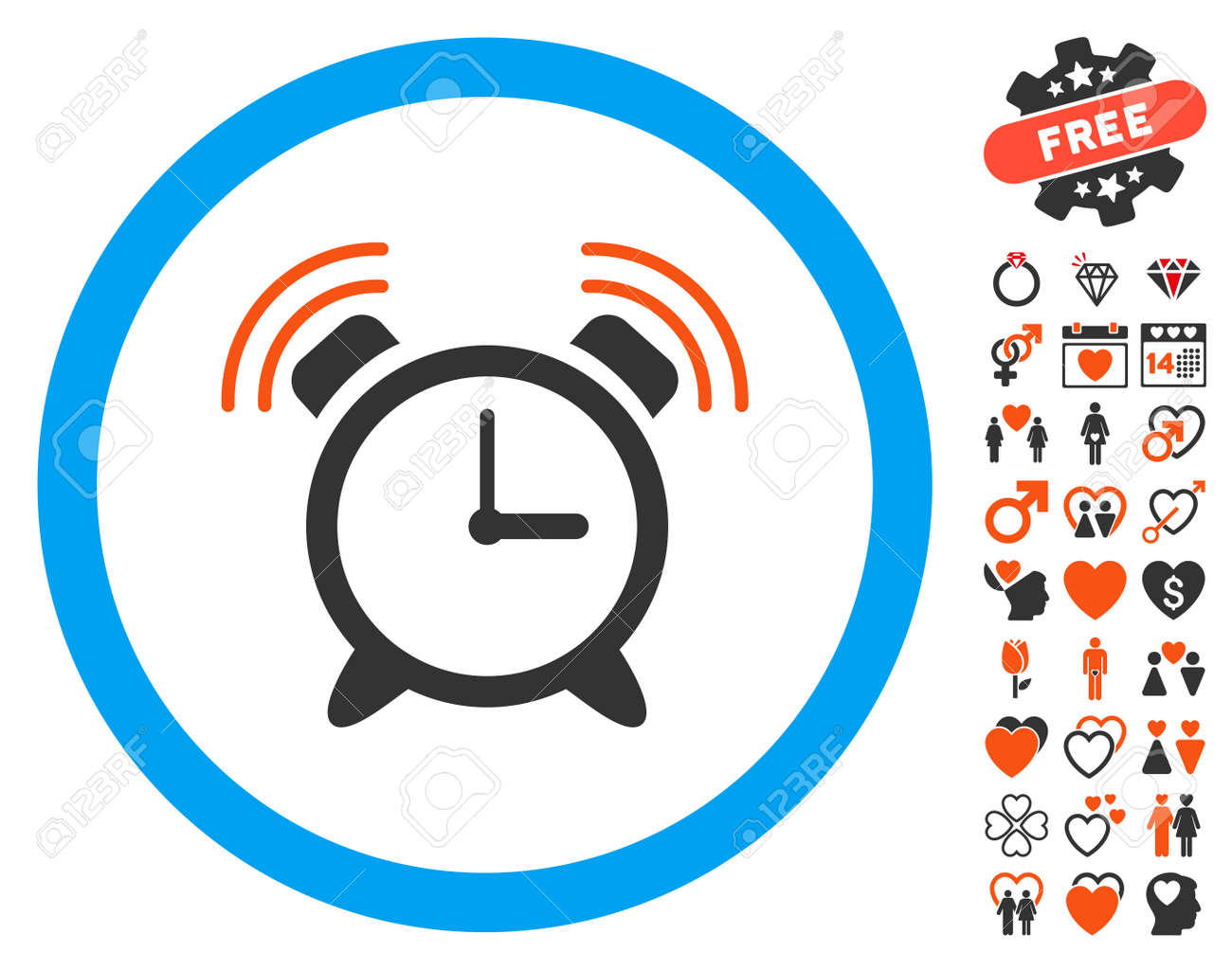 Alarm Clock Ring icon with bonus lovely pictograms  Vector illustration
