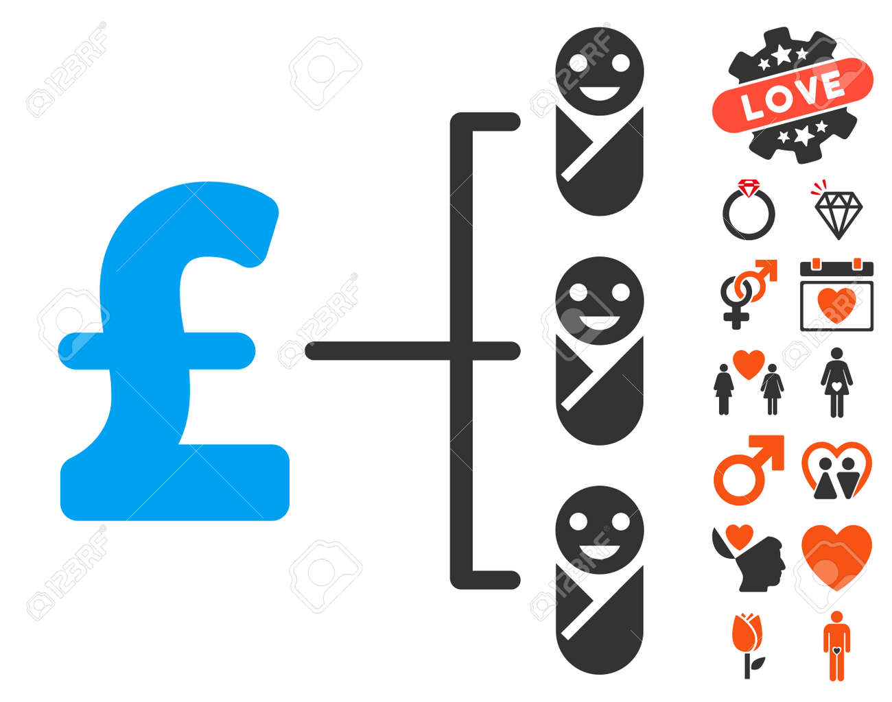 Baby Pound Budget Pictograph With Bonus Marriage Symbols Vector