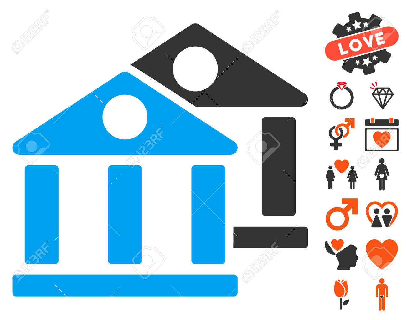 Banks Pictograph With Bonus Valentine Pictures Vector Illustration