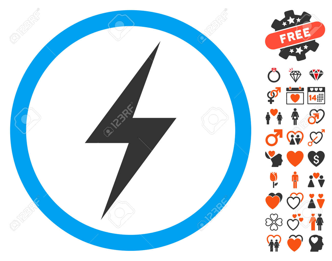 Electricity Symbol icon with bonus marriage symbols  Vector illustration