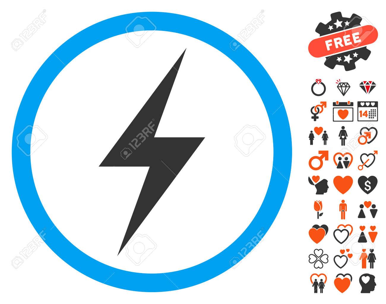 5f62d46365 Archivio Fotografico - Icona simbolo di elettricità con simboli di  matrimonio bonus. Stile di illustrazione vettoriale è piatta elementi  iconici per il web ...