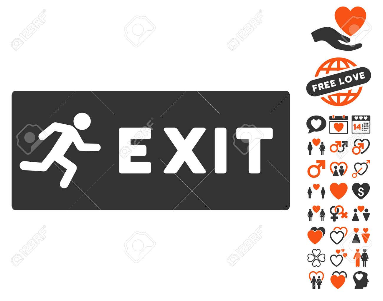 Pictograma De Salida De Emergencia Con Bonitos Símbolos De