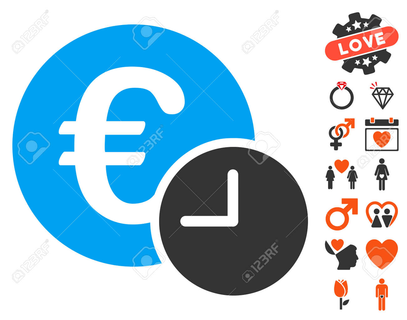 Euro Credit Icon With Bonus Marriage Symbols Vector Illustration