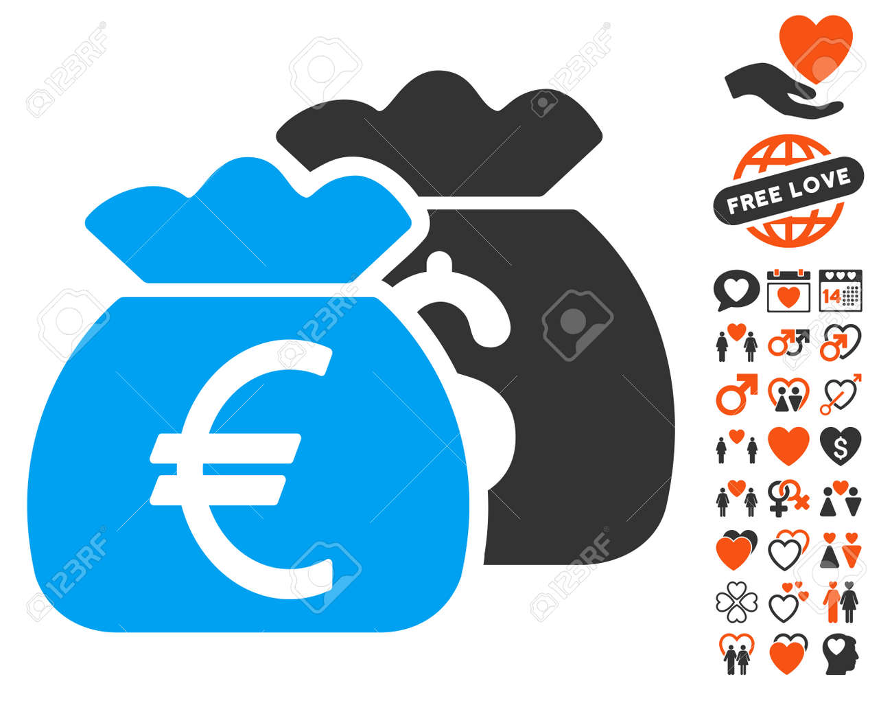 Euro money bags icon with bonus dating pictograph collection euro money bags icon with bonus dating pictograph collection vector illustration style is flat iconic biocorpaavc Gallery