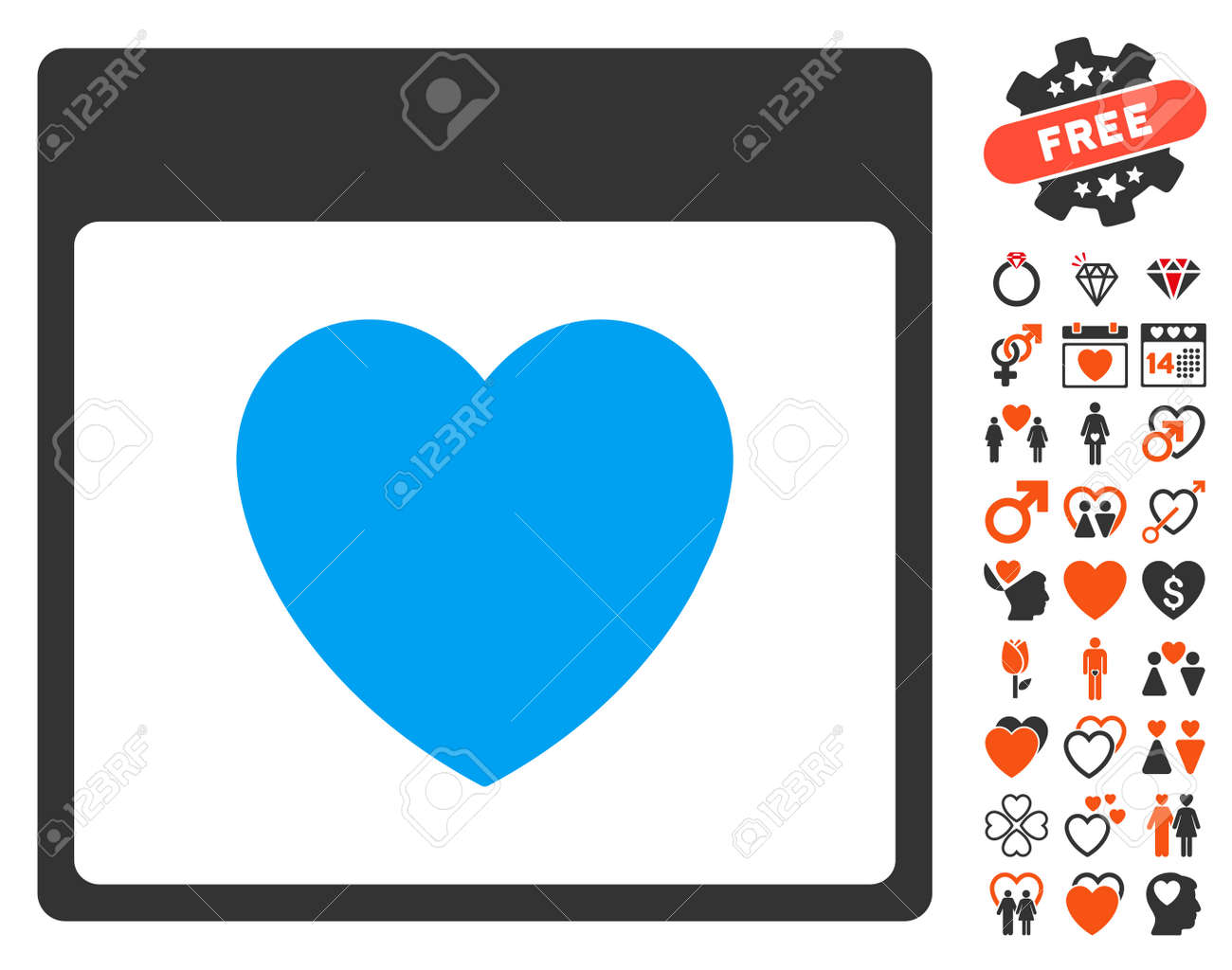 Favourite heart calendar page icon with bonus love symbols vector favourite heart calendar page icon with bonus love symbols vector illustration style is flat iconic buycottarizona Image collections
