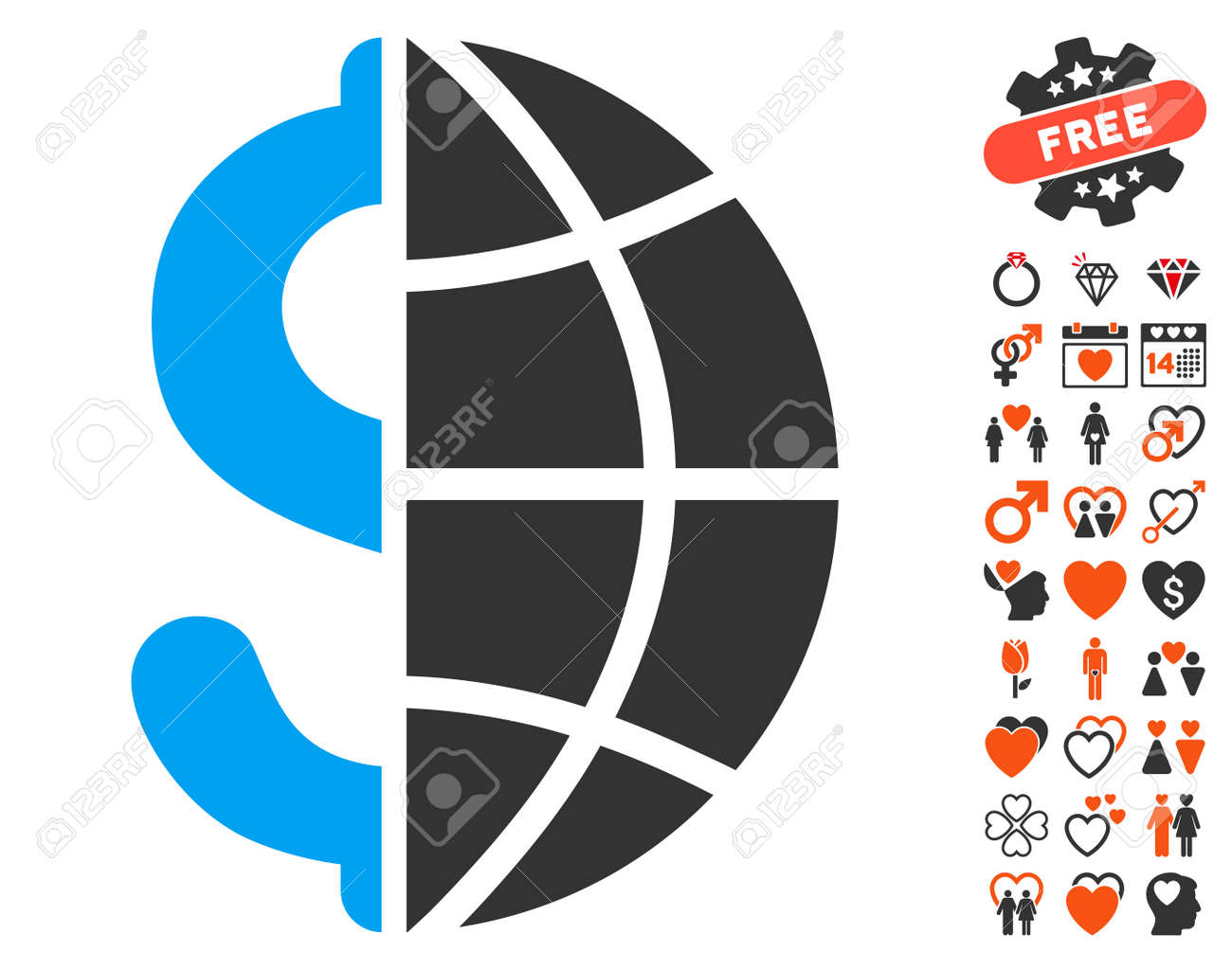 global business icon with bonus valentine graphic icons vector