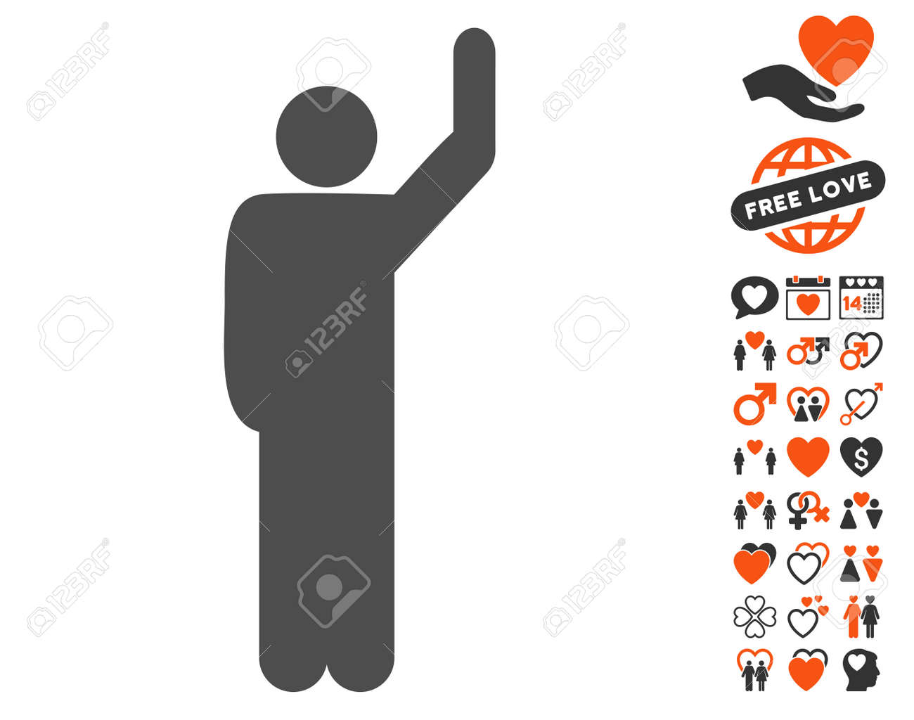Hitchhike Pose pictograph with bonus passion symbols  Vector